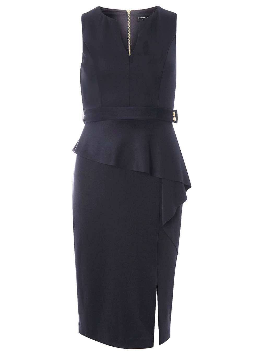 Womens Waterfall Pencil Dress Blue - style: shift; neckline: v-neck; fit: tailored/fitted; pattern: plain; sleeve style: sleeveless; hip detail: draws attention to hips; waist detail: peplum waist detail; predominant colour: navy; occasions: evening; length: on the knee; fibres: polyester/polyamide - stretch; sleeve length: sleeveless; pattern type: fabric; texture group: other - light to midweight; season: a/w 2016; wardrobe: event