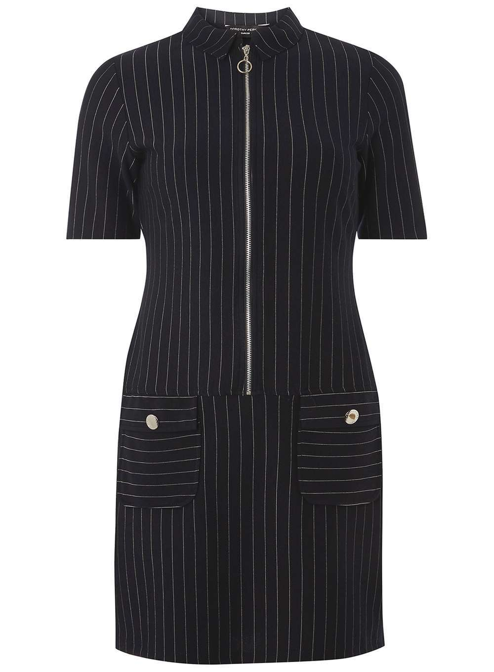 Womens Stripe Zip Front Shift Dress Blue - style: shirt; length: mid thigh; neckline: shirt collar/peter pan/zip with opening; fit: tailored/fitted; pattern: striped; secondary colour: white; predominant colour: navy; fibres: polyester/polyamide - 100%; hip detail: subtle/flattering hip detail; sleeve length: short sleeve; sleeve style: standard; texture group: crepes; pattern type: fabric; occasions: creative work; season: a/w 2016; wardrobe: highlight; embellishment location: bust