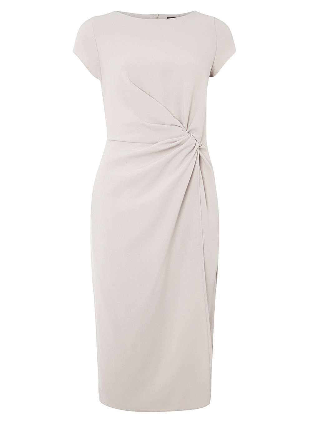 Womens **Luxe Grey Ruched Crepe Dress Grey - style: shift; pattern: plain; waist detail: flattering waist detail; predominant colour: light grey; occasions: evening; length: on the knee; fit: body skimming; fibres: polyester/polyamide - stretch; neckline: crew; sleeve length: short sleeve; sleeve style: standard; pattern type: fabric; texture group: jersey - stretchy/drapey; season: a/w 2016; wardrobe: event