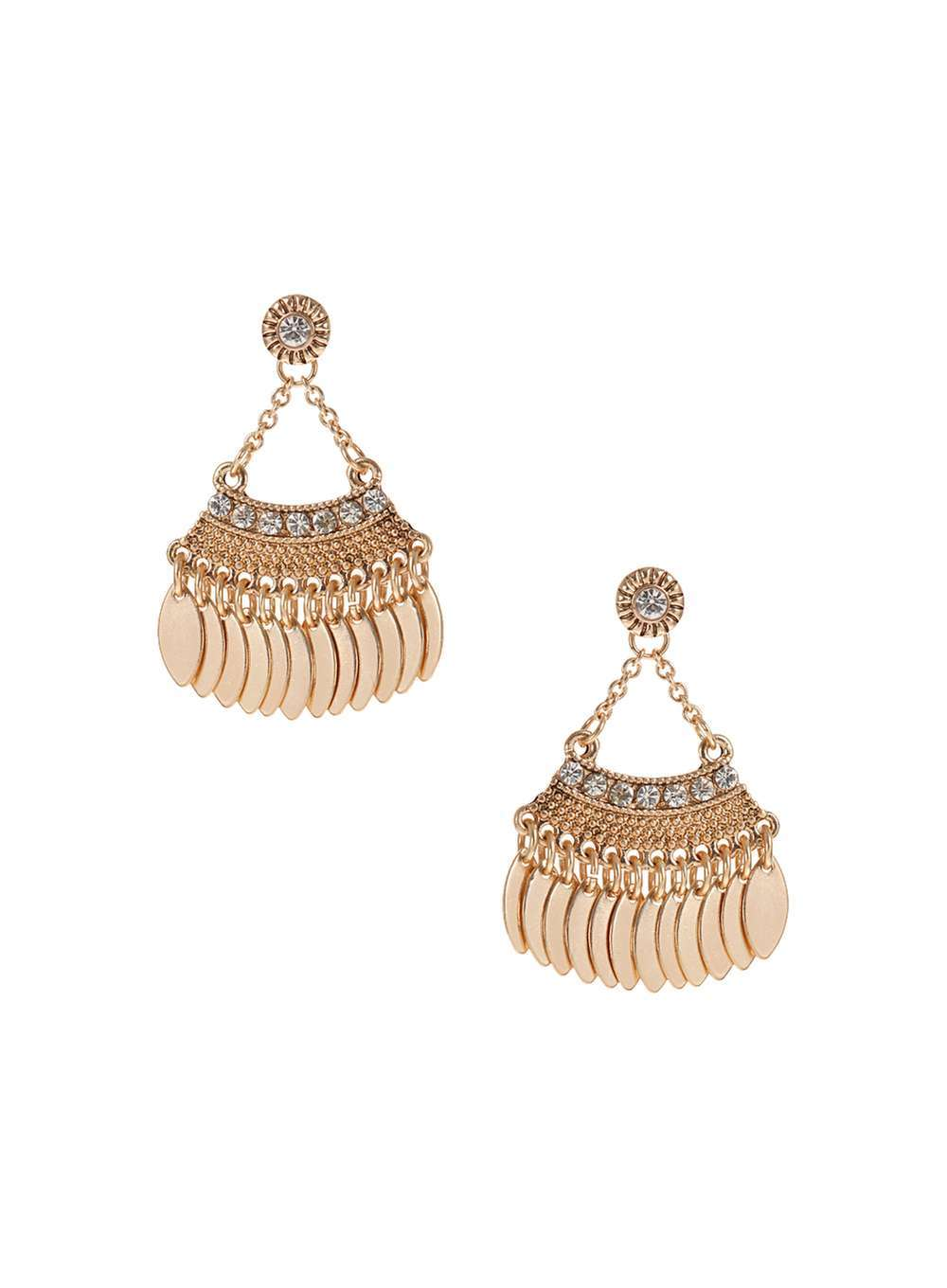 Womens Ethnic Drop Earrings Clear - predominant colour: gold; occasions: evening, occasion; style: chandelier; length: mid; size: large/oversized; material: chain/metal; fastening: pierced; finish: metallic; embellishment: crystals/glass; season: a/w 2016