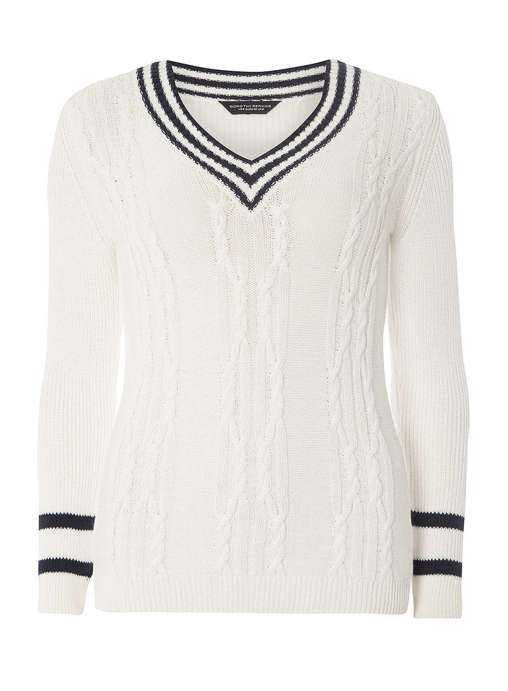 Womens Ivory Cricket Jumper White - neckline: v-neck; style: standard; pattern: cable knit; predominant colour: ivory/cream; secondary colour: black; occasions: casual, creative work; length: standard; fibres: cotton - 100%; fit: standard fit; sleeve length: long sleeve; sleeve style: standard; texture group: knits/crochet; pattern type: knitted - fine stitch; pattern size: standard; season: a/w 2016; wardrobe: highlight