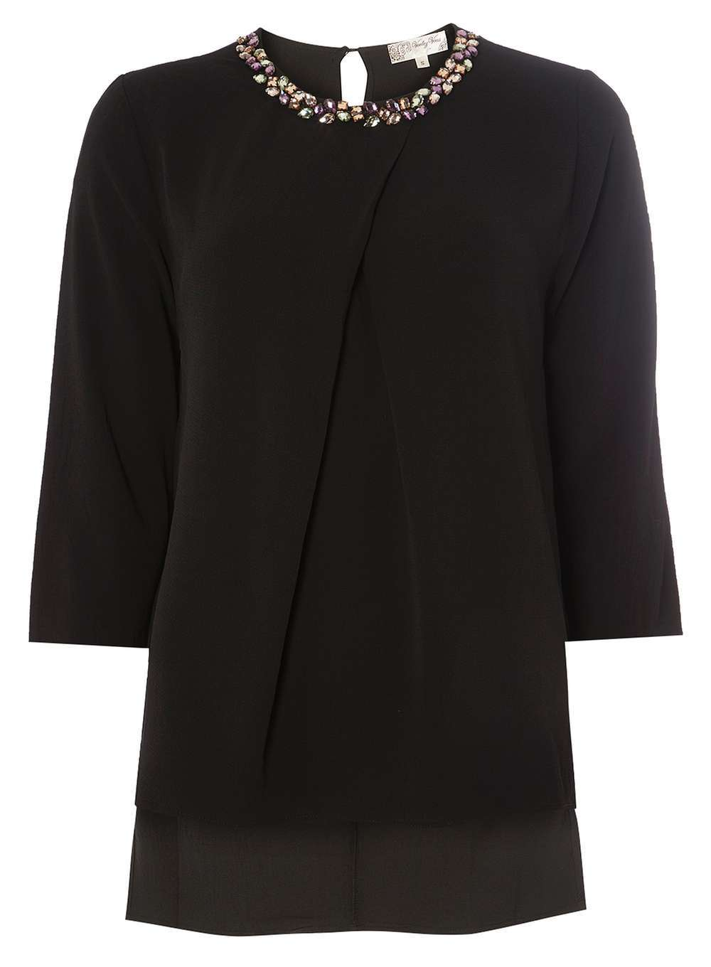 Womens **Voulez Vous Black Pleat Neck Blouse Black - neckline: round neck; pattern: plain; length: below the bottom; style: blouse; predominant colour: black; occasions: evening; fibres: polyester/polyamide - 100%; fit: body skimming; back detail: keyhole/peephole detail at back; sleeve length: 3/4 length; sleeve style: standard; pattern type: fabric; texture group: jersey - stretchy/drapey; embellishment: sequins; season: a/w 2016; wardrobe: event
