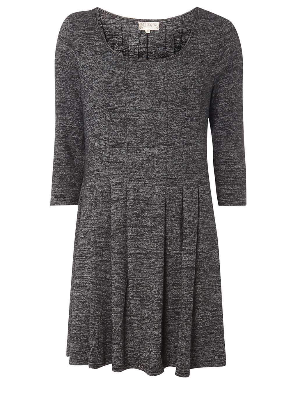 Womens **Voulez Vouz Charcoal 3/4 Sleeve Knitted Dress Grey - length: mid thigh; neckline: round neck; pattern: plain; predominant colour: charcoal; occasions: casual; fit: fitted at waist & bust; style: fit & flare; fibres: polyester/polyamide - stretch; hip detail: soft pleats at hip/draping at hip/flared at hip; sleeve length: 3/4 length; sleeve style: standard; pattern type: fabric; texture group: jersey - stretchy/drapey; wardrobe: basic; season: a/w 2016