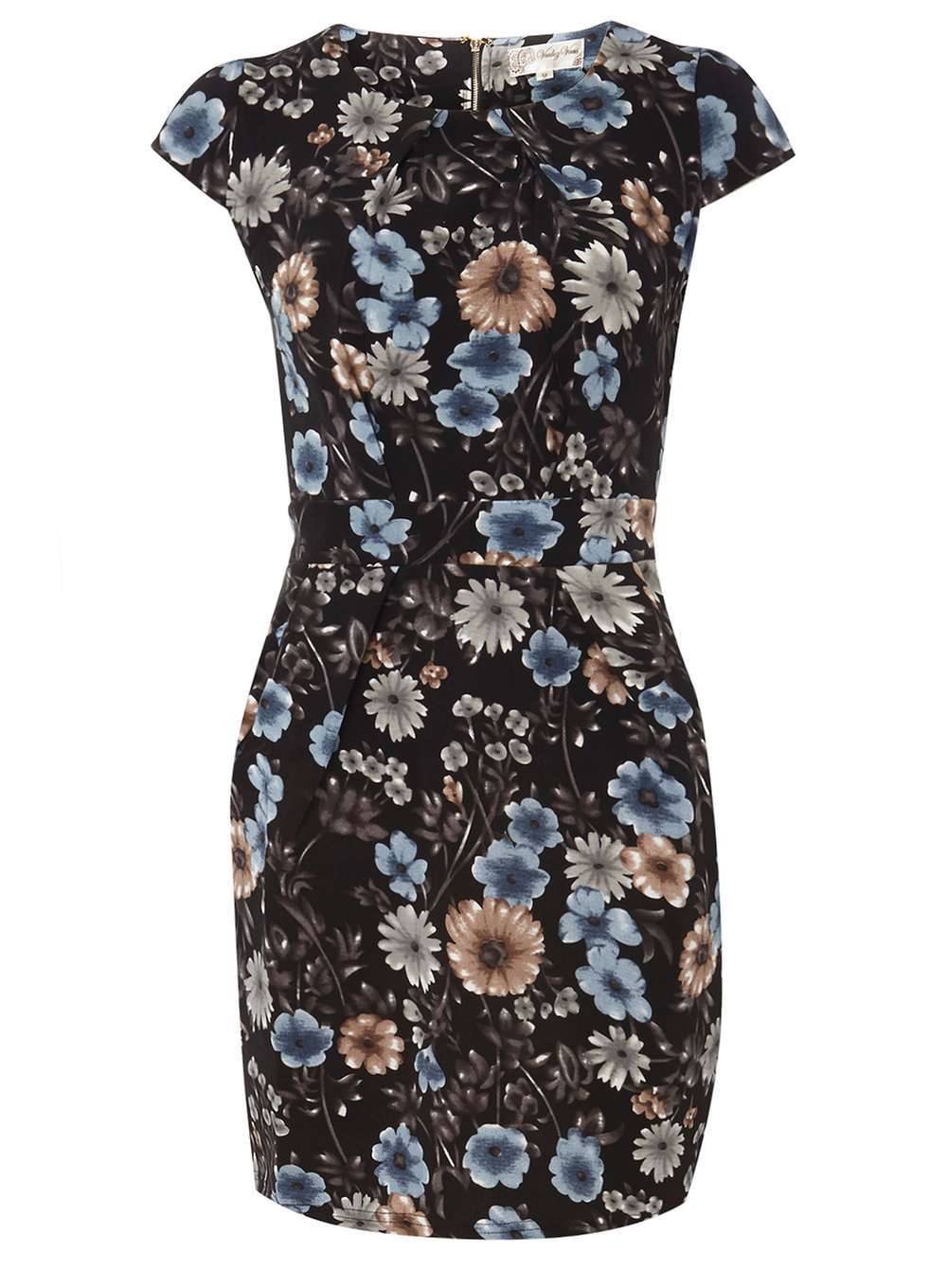 Womens **Voulez Vous Blue Floral Tie Back Dress Blue - length: mini; sleeve style: capped; fit: tight; style: bodycon; secondary colour: pale blue; predominant colour: navy; occasions: evening; fibres: polyester/polyamide - stretch; neckline: crew; sleeve length: short sleeve; texture group: jersey - clingy; pattern type: fabric; pattern: florals; multicoloured: multicoloured; season: a/w 2016