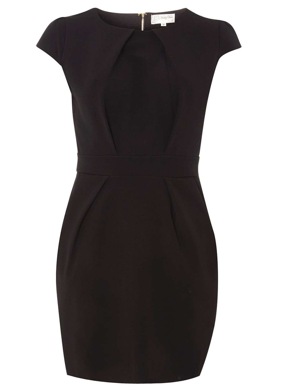 Womens **Voulez Vous Black Back Tie Pleat Dress Black - style: shift; length: mini; sleeve style: capped; fit: tailored/fitted; pattern: plain; predominant colour: black; occasions: evening; fibres: polyester/polyamide - 100%; neckline: crew; sleeve length: short sleeve; pattern type: fabric; texture group: other - light to midweight; season: a/w 2016; wardrobe: event