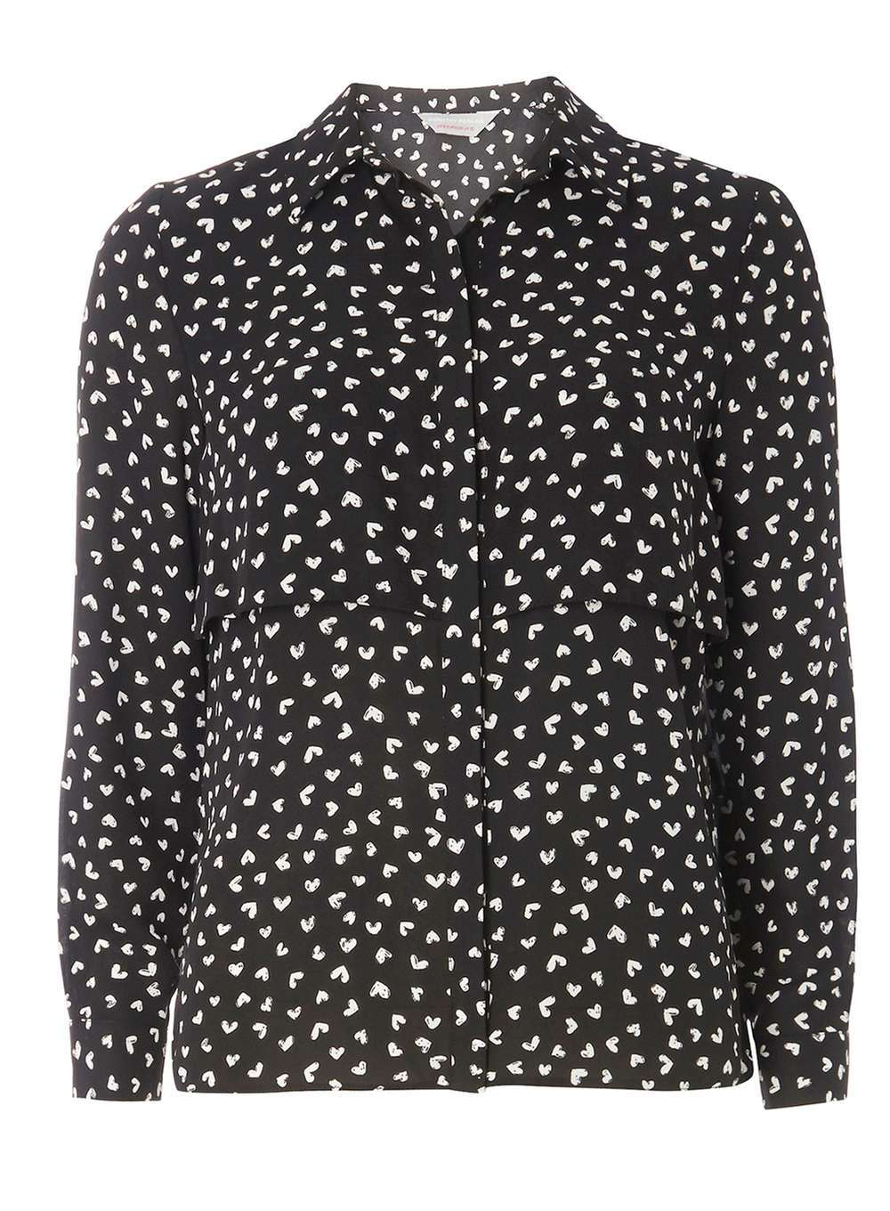 Womens **Petite Black Heart Print Shirt Black - neckline: shirt collar/peter pan/zip with opening; style: shirt; secondary colour: ivory/cream; predominant colour: black; occasions: casual; length: standard; fibres: polyester/polyamide - 100%; fit: body skimming; sleeve length: long sleeve; sleeve style: standard; texture group: sheer fabrics/chiffon/organza etc.; pattern type: fabric; pattern: patterned/print; multicoloured: multicoloured; season: a/w 2016
