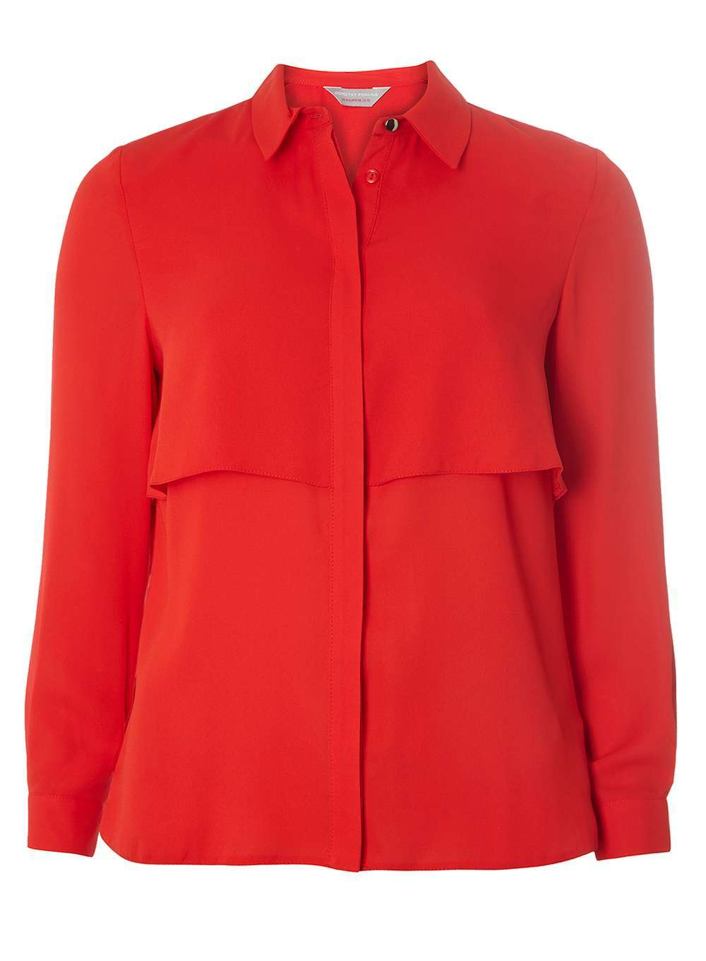 Womens Petite Red Double Layered Shirt Red - neckline: shirt collar/peter pan/zip with opening; pattern: plain; style: shirt; predominant colour: true red; occasions: casual, work, creative work; length: standard; fibres: polyester/polyamide - 100%; fit: body skimming; sleeve length: long sleeve; sleeve style: standard; texture group: sheer fabrics/chiffon/organza etc.; bust detail: bulky details at bust; pattern type: fabric; season: a/w 2016; wardrobe: highlight