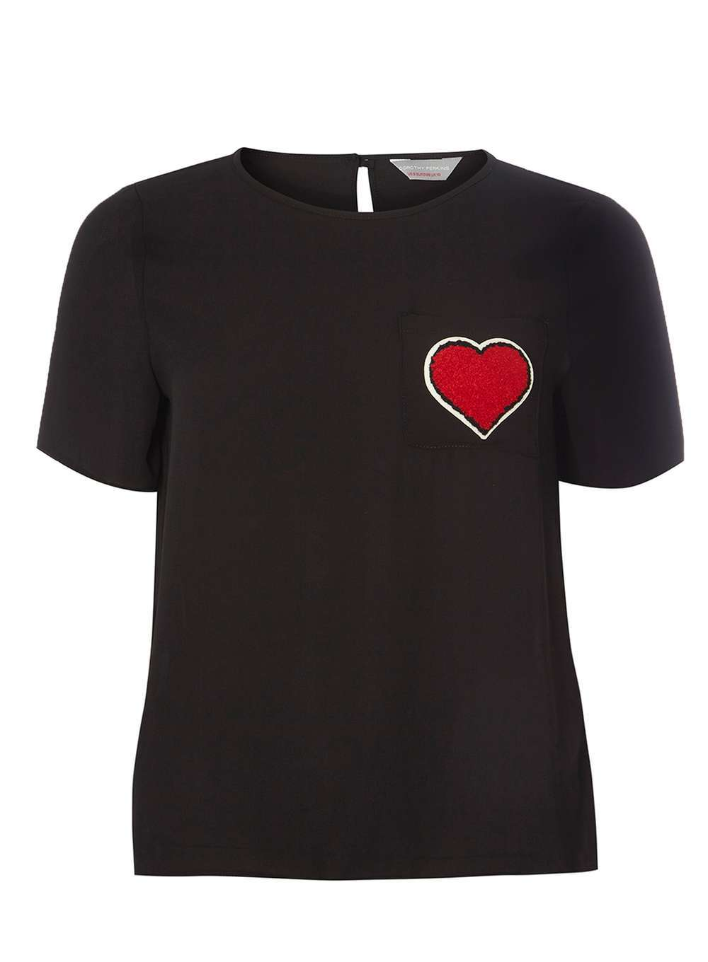 Womens Petite Heart Pocket Tee Black - pattern: plain; style: t-shirt; predominant colour: black; occasions: casual; length: standard; fibres: polyester/polyamide - 100%; fit: body skimming; neckline: crew; sleeve length: short sleeve; sleeve style: standard; pattern type: fabric; texture group: jersey - stretchy/drapey; wardrobe: basic; season: a/w 2016