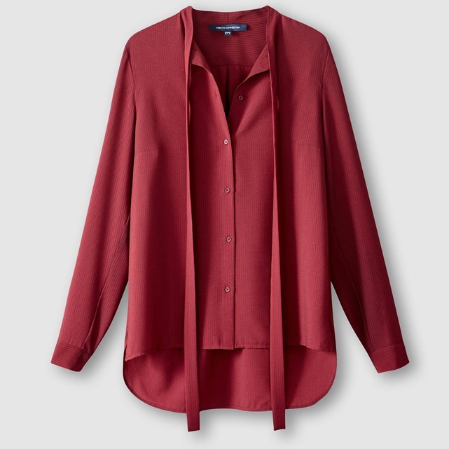 Long Sleeved Blouse With Tie - pattern: plain; length: below the bottom; neckline: pussy bow; style: blouse; predominant colour: burgundy; occasions: casual; fibres: polyester/polyamide - 100%; fit: loose; sleeve length: long sleeve; sleeve style: standard; texture group: sheer fabrics/chiffon/organza etc.; pattern type: fabric; season: a/w 2016; wardrobe: highlight