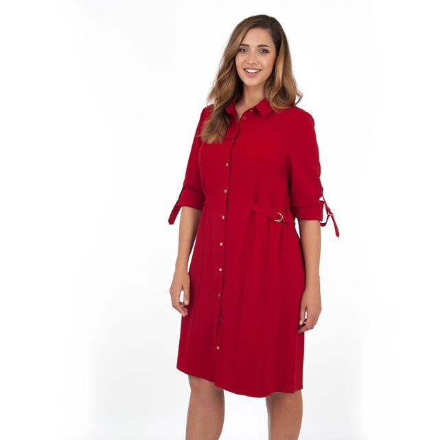 Dress - style: shirt; neckline: shirt collar/peter pan/zip with opening; fit: loose; pattern: plain; predominant colour: true red; occasions: casual, creative work; length: just above the knee; fibres: polyester/polyamide - 100%; sleeve length: 3/4 length; sleeve style: standard; texture group: crepes; pattern type: fabric; season: a/w 2016