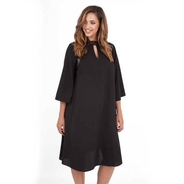 Dress - style: trapeze; sleeve style: angel/waterfall; pattern: plain; predominant colour: black; occasions: evening, occasion; length: on the knee; fit: soft a-line; neckline: collarstand; fibres: polyester/polyamide - 100%; sleeve length: 3/4 length; texture group: sheer fabrics/chiffon/organza etc.; pattern type: fabric; season: a/w 2016; wardrobe: event