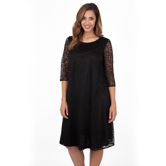 Dress - style: smock; neckline: round neck; fit: loose; predominant colour: black; occasions: evening, occasion; length: on the knee; fibres: polyester/polyamide - 100%; sleeve length: 3/4 length; sleeve style: standard; texture group: lace; pattern type: fabric; pattern size: standard; pattern: patterned/print; season: a/w 2016; wardrobe: event