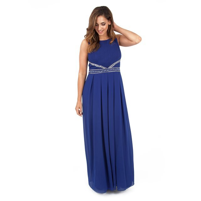 Maxi Dress - pattern: plain; sleeve style: sleeveless; style: maxi dress; predominant colour: royal blue; occasions: evening; length: floor length; fit: body skimming; fibres: polyester/polyamide - 100%; neckline: crew; sleeve length: sleeveless; texture group: sheer fabrics/chiffon/organza etc.; pattern type: fabric; season: a/w 2016; wardrobe: event; embellishment location: waist