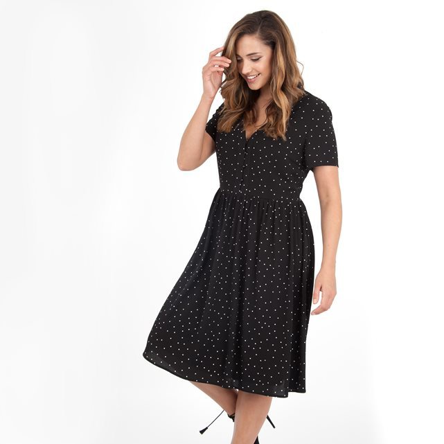 Dress - length: below the knee; neckline: v-neck; pattern: polka dot; waist detail: belted waist/tie at waist/drawstring; secondary colour: white; predominant colour: black; occasions: casual; fit: fitted at waist & bust; style: fit & flare; fibres: polyester/polyamide - 100%; sleeve length: short sleeve; sleeve style: standard; pattern type: fabric; texture group: jersey - stretchy/drapey; multicoloured: multicoloured; season: a/w 2016; wardrobe: highlight