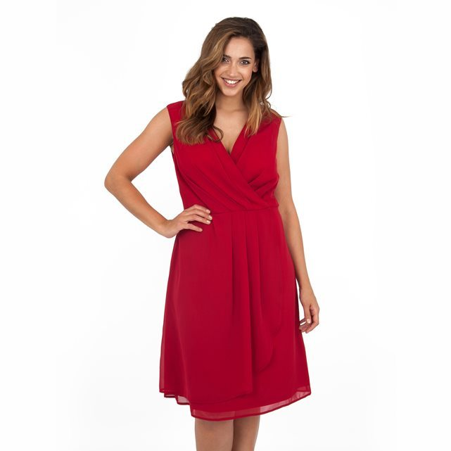 Dress - style: faux wrap/wrap; neckline: v-neck; pattern: plain; sleeve style: sleeveless; predominant colour: true red; occasions: evening, occasion; length: on the knee; fit: soft a-line; fibres: polyester/polyamide - 100%; sleeve length: sleeveless; texture group: sheer fabrics/chiffon/organza etc.; pattern type: fabric; season: a/w 2016