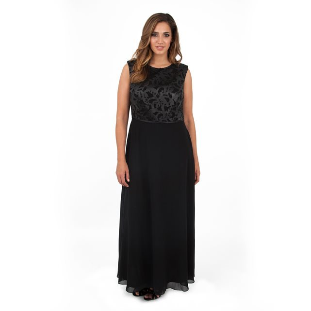 Maxi Dress - pattern: plain; sleeve style: sleeveless; style: maxi dress; length: ankle length; bust detail: added detail/embellishment at bust; predominant colour: black; occasions: evening; fit: fitted at waist & bust; fibres: polyester/polyamide - 100%; neckline: crew; sleeve length: sleeveless; texture group: sheer fabrics/chiffon/organza etc.; pattern type: fabric; embellishment: lace; season: a/w 2016