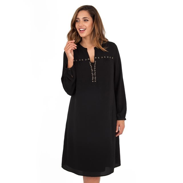 Dress - style: tunic; length: mid thigh; neckline: v-neck; pattern: plain; predominant colour: black; occasions: casual, creative work; fit: straight cut; fibres: polyester/polyamide - 100%; sleeve length: long sleeve; sleeve style: standard; texture group: crepes; pattern type: fabric; embellishment: embroidered; season: a/w 2016; wardrobe: highlight; embellishment location: bust