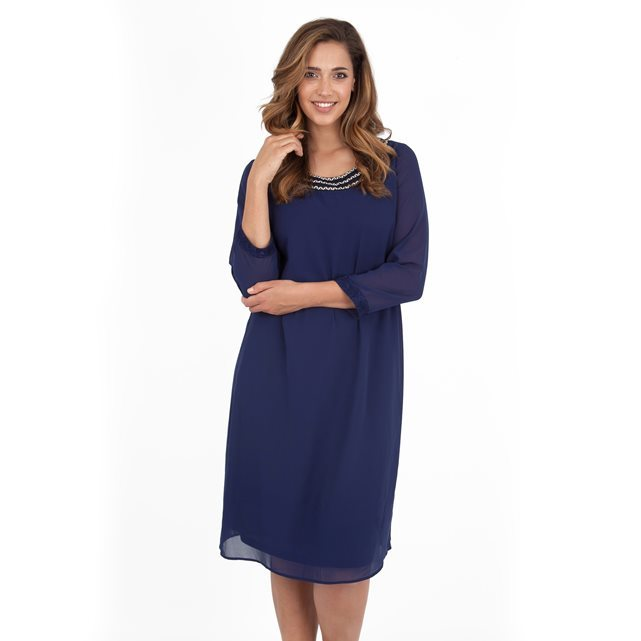 Dress - style: shift; length: below the knee; neckline: round neck; pattern: plain; predominant colour: navy; occasions: evening; fit: body skimming; fibres: polyester/polyamide - 100%; sleeve length: 3/4 length; sleeve style: standard; texture group: sheer fabrics/chiffon/organza etc.; pattern type: fabric; embellishment: beading; season: a/w 2016; wardrobe: event