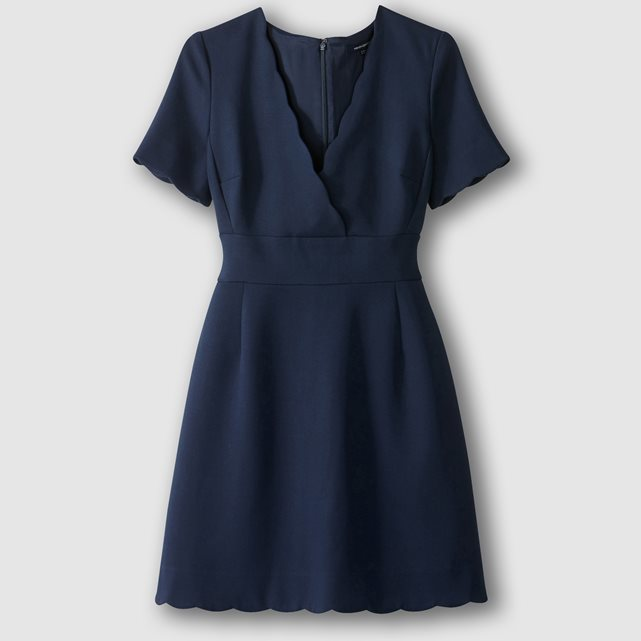 Sundae Suiting Short Sleeved V Neck Dress - style: faux wrap/wrap; length: mid thigh; neckline: v-neck; pattern: plain; predominant colour: navy; occasions: evening, creative work; fit: soft a-line; fibres: polyester/polyamide - stretch; sleeve length: short sleeve; sleeve style: standard; pattern type: fabric; pattern size: standard; texture group: jersey - stretchy/drapey; wardrobe: investment; season: a/w 2016