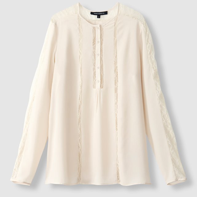 Buttoned Blouse With Lace Trim - pattern: plain; style: blouse; predominant colour: white; occasions: casual; length: standard; fibres: polyester/polyamide - mix; fit: body skimming; neckline: crew; sleeve length: long sleeve; sleeve style: standard; texture group: sheer fabrics/chiffon/organza etc.; pattern type: fabric; embellishment: lace; season: a/w 2016; wardrobe: highlight