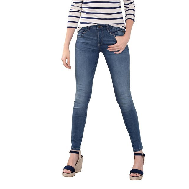 Faded Skinny Jeans - style: skinny leg; length: standard; pattern: plain; pocket detail: traditional 5 pocket; waist: mid/regular rise; predominant colour: denim; occasions: casual; fibres: cotton - stretch; jeans detail: washed/faded; texture group: denim; pattern type: fabric; wardrobe: basic; season: a/w 2016