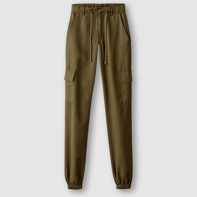 Military Trousers - length: standard; pattern: plain; waist detail: elasticated waist; pocket detail: pockets at the sides; waist: mid/regular rise; style: cargo; predominant colour: khaki; occasions: casual, creative work; fibres: viscose/rayon - 100%; fit: tapered; pattern type: fabric; texture group: woven light midweight; pattern size: standard (bottom); wardrobe: basic; season: a/w 2016; trends: military