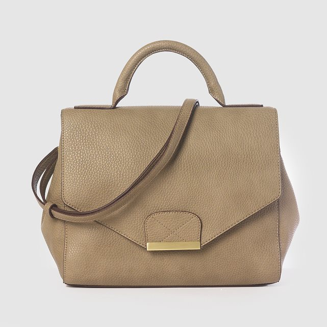Handbag - predominant colour: nude; occasions: casual; type of pattern: standard; style: messenger; length: across body/long; size: standard; material: faux leather; pattern: plain; finish: plain; wardrobe: basic; season: a/w 2016