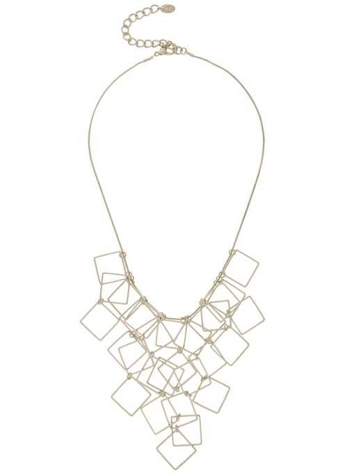 Silver Square Statement Necklace - predominant colour: gold; occasions: evening; length: mid; size: large/oversized; material: chain/metal; finish: metallic; style: bib/statement; season: a/w 2016; wardrobe: event