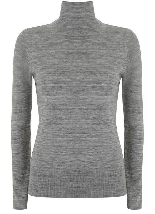Grey Marl Slim Fit Polo Neck - pattern: plain; neckline: roll neck; predominant colour: mid grey; occasions: casual; length: standard; style: top; fibres: cotton - mix; fit: body skimming; sleeve length: long sleeve; sleeve style: standard; pattern type: fabric; texture group: jersey - stretchy/drapey; wardrobe: basic; season: a/w 2016