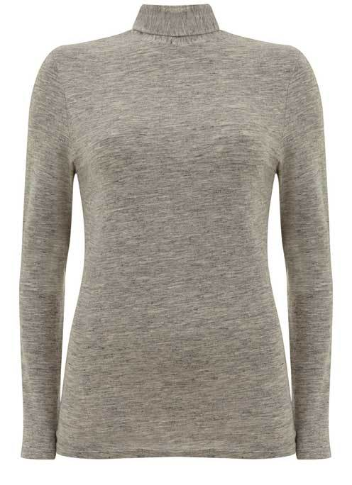 Silver Grey Marl Jersey Polo Neck - pattern: plain; neckline: roll neck; predominant colour: light grey; occasions: casual; length: standard; style: top; fibres: cotton - stretch; fit: body skimming; sleeve length: long sleeve; sleeve style: standard; pattern type: fabric; texture group: jersey - stretchy/drapey; wardrobe: basic; season: a/w 2016
