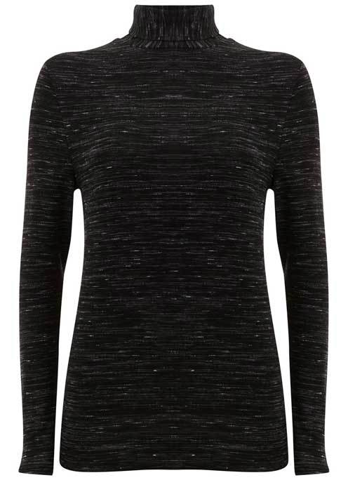 Black Marl Jersey Polo Neck - pattern: plain; neckline: roll neck; predominant colour: black; occasions: casual; length: standard; style: top; fibres: viscose/rayon - stretch; fit: body skimming; sleeve length: long sleeve; sleeve style: standard; pattern type: fabric; texture group: jersey - stretchy/drapey; wardrobe: basic; season: a/w 2016