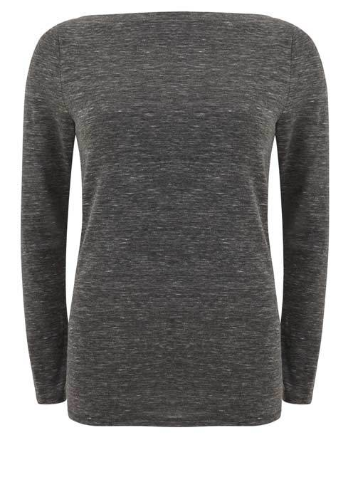Granite Marl Jersey Tee - neckline: slash/boat neckline; predominant colour: mid grey; occasions: casual; length: standard; style: top; fibres: polyester/polyamide - stretch; fit: body skimming; sleeve length: long sleeve; sleeve style: standard; pattern type: fabric; texture group: jersey - stretchy/drapey; pattern: marl; wardrobe: basic; season: a/w 2016