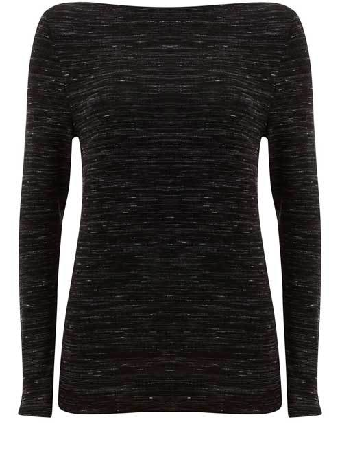 Black Marl Jersey Tee - neckline: slash/boat neckline; predominant colour: black; occasions: casual; length: standard; style: top; fibres: viscose/rayon - stretch; fit: body skimming; sleeve length: long sleeve; sleeve style: standard; pattern type: fabric; texture group: jersey - stretchy/drapey; pattern: marl; wardrobe: basic; season: a/w 2016