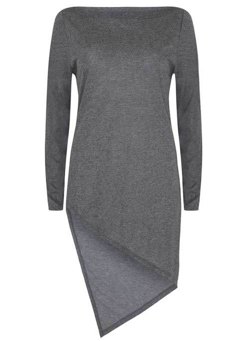 Granite Marl Asymmetric Hem Tunic - neckline: slash/boat neckline; pattern: plain; length: below the bottom; style: tunic; predominant colour: charcoal; occasions: casual, creative work; fibres: viscose/rayon - 100%; fit: body skimming; sleeve length: long sleeve; sleeve style: standard; pattern type: fabric; pattern size: standard; texture group: jersey - stretchy/drapey; wardrobe: basic; season: a/w 2016