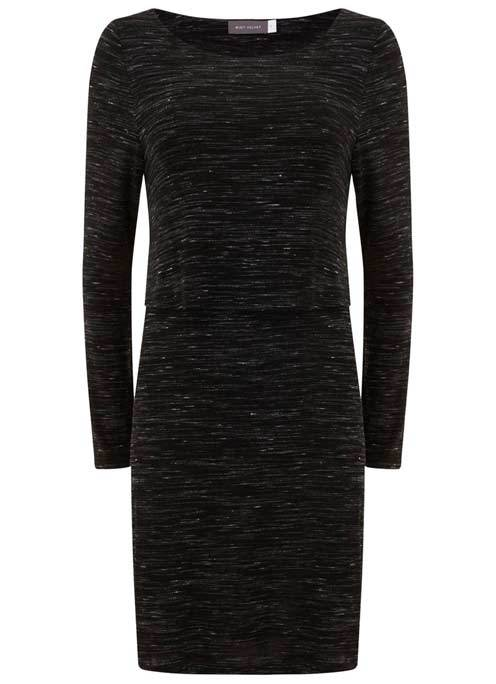 Black Marl Layered Tunic - neckline: round neck; length: below the bottom; style: tunic; predominant colour: black; occasions: casual; fibres: cotton - stretch; fit: body skimming; sleeve length: long sleeve; sleeve style: standard; texture group: jersey - clingy; pattern type: fabric; pattern size: light/subtle; pattern: marl; wardrobe: basic; season: a/w 2016