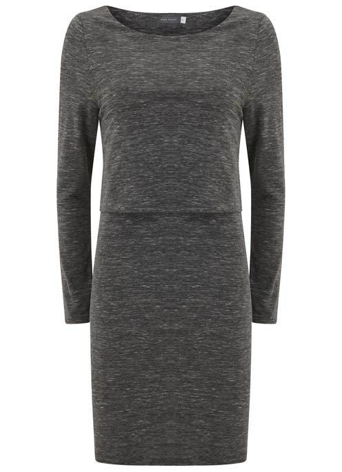 Granite Marl Layered Tunic - neckline: round neck; pattern: plain; style: tunic; bust detail: ruching/gathering/draping/layers/pintuck pleats at bust; predominant colour: charcoal; occasions: casual; fibres: polyester/polyamide - stretch; fit: body skimming; length: mid thigh; sleeve length: long sleeve; sleeve style: standard; pattern type: fabric; texture group: jersey - stretchy/drapey; season: a/w 2016