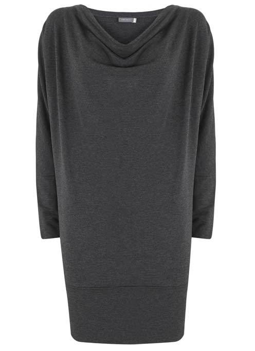 Charcoal Batwing Cowl Neck Dress - style: shift; neckline: cowl/draped neck; pattern: plain; predominant colour: charcoal; occasions: casual; length: just above the knee; fit: body skimming; fibres: polyester/polyamide - 100%; sleeve length: long sleeve; sleeve style: standard; pattern type: fabric; texture group: jersey - stretchy/drapey; wardrobe: basic; season: a/w 2016
