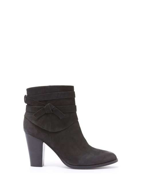 Black Geri Knot Detail Ankle Boot - predominant colour: black; occasions: casual; material: suede; heel height: high; heel: block; toe: round toe; boot length: ankle boot; style: standard; finish: plain; pattern: plain; season: a/w 2016