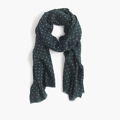 Lightweight Wool Silk Dotted Scarf - predominant colour: navy; occasions: casual; type of pattern: heavy; style: regular; size: standard; material: silk; pattern: polka dot; season: a/w 2016; wardrobe: highlight