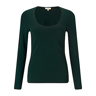 Double Front Scoop T Shirt - pattern: plain; style: t-shirt; predominant colour: dark green; occasions: casual, creative work; length: standard; neckline: scoop; fibres: cotton - stretch; fit: body skimming; sleeve length: long sleeve; sleeve style: standard; pattern type: knitted - fine stitch; pattern size: standard; texture group: jersey - stretchy/drapey; season: a/w 2015; wardrobe: highlight
