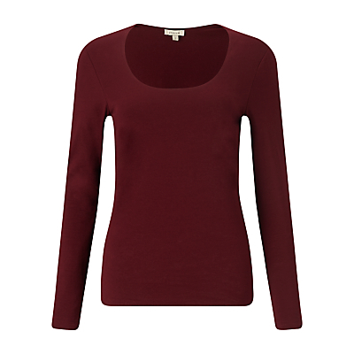 Double Front Scoop T Shirt - pattern: plain; style: t-shirt; predominant colour: burgundy; occasions: casual, creative work; length: standard; neckline: scoop; fibres: cotton - stretch; fit: body skimming; sleeve length: long sleeve; sleeve style: standard; pattern type: fabric; pattern size: standard; texture group: jersey - stretchy/drapey; season: a/w 2015; wardrobe: highlight