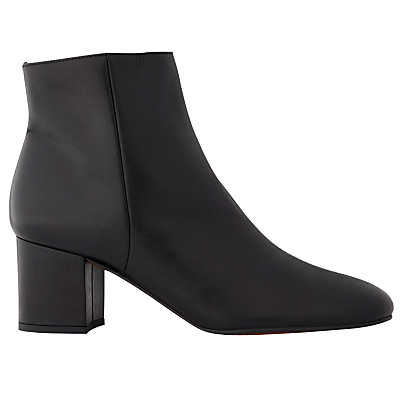 Logan Block Heeled Ankle Boots - predominant colour: black; occasions: casual, creative work; material: leather; heel height: mid; heel: block; toe: round toe; boot length: ankle boot; style: standard; finish: plain; pattern: plain; wardrobe: basic; season: a/w 2016