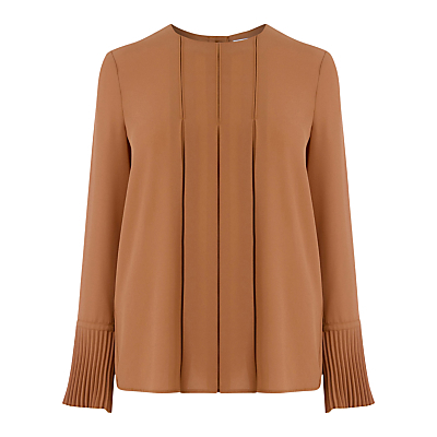 Box Pleat Top, Tan - pattern: plain; style: blouse; predominant colour: camel; occasions: casual; length: standard; fibres: polyester/polyamide - 100%; fit: body skimming; neckline: crew; sleeve length: long sleeve; sleeve style: standard; texture group: crepes; pattern type: fabric; wardrobe: basic; season: a/w 2016