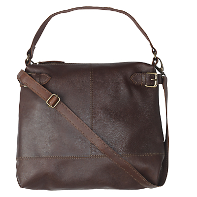 Sally Leather Buckle Shoulder Bag, Chocolate - predominant colour: chocolate brown; occasions: casual, creative work; type of pattern: standard; style: shoulder; length: across body/long; size: standard; material: leather; pattern: plain; finish: plain; wardrobe: investment; season: a/w 2016