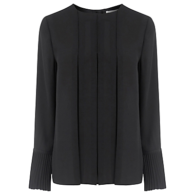 Box Pleat Top - pattern: plain; style: blouse; bust detail: subtle bust detail; predominant colour: black; occasions: casual, work, creative work; length: standard; fibres: polyester/polyamide - 100%; fit: straight cut; neckline: crew; sleeve length: long sleeve; sleeve style: standard; texture group: crepes; pattern type: fabric; wardrobe: basic; season: a/w 2016