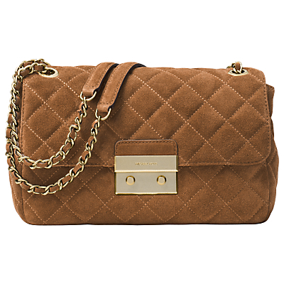 Sloan Large Leather Chain Shoulder Bag, Dark Caramel - predominant colour: tan; occasions: casual, creative work; type of pattern: standard; style: shoulder; length: across body/long; size: small; material: suede; embellishment: quilted; pattern: plain; finish: plain; season: a/w 2016; wardrobe: highlight
