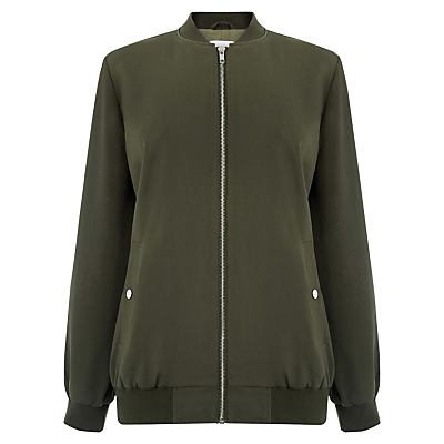 Bomber Jacket, Khaki - pattern: plain; collar: round collar/collarless; fit: slim fit; style: bomber; predominant colour: khaki; occasions: casual, creative work; length: standard; fibres: polyester/polyamide - 100%; sleeve length: long sleeve; sleeve style: standard; texture group: crepes; collar break: high; pattern type: fabric; season: a/w 2016