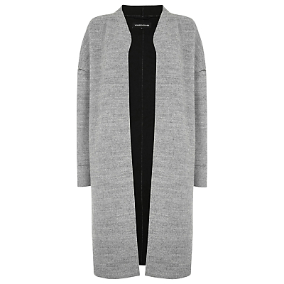 Bonded Swing Coat, Light Grey - pattern: plain; collar: round collar/collarless; style: single breasted; length: on the knee; predominant colour: light grey; occasions: casual; fit: tailored/fitted; fibres: polyester/polyamide - 100%; sleeve length: long sleeve; sleeve style: standard; collar break: low/open; pattern type: fabric; texture group: woven bulky/heavy; wardrobe: basic; season: a/w 2016