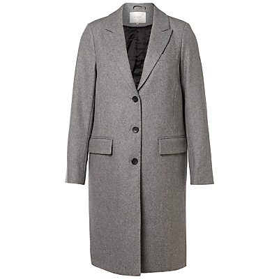 Constract City Coat, Light Grey Melange - pattern: plain; style: single breasted; collar: standard lapel/rever collar; length: mid thigh; predominant colour: mid grey; occasions: work; fit: tailored/fitted; fibres: wool - mix; sleeve length: long sleeve; sleeve style: standard; collar break: medium; pattern type: fabric; texture group: woven bulky/heavy; wardrobe: investment; season: a/w 2016