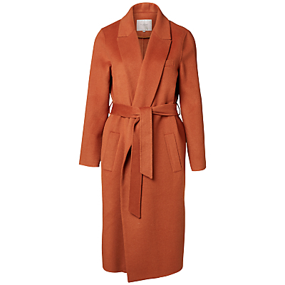Oby Wool Blend Coat, Mocca Bisque - pattern: plain; style: wrap around; collar: standard lapel/rever collar; predominant colour: terracotta; occasions: casual, creative work; fit: tailored/fitted; fibres: wool - mix; length: below the knee; waist detail: belted waist/tie at waist/drawstring; sleeve length: long sleeve; sleeve style: standard; collar break: medium; pattern type: fabric; texture group: woven bulky/heavy; season: a/w 2016; wardrobe: highlight